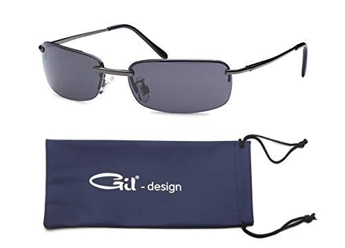 GIL-Design Hochwertige Rechteckige Herren Unisex Matrix Sonnenbrille mit Federscharnier - Radbrille Sportbrille Biker Sunglasses (Schwarz (Bügel - Anthrazit))