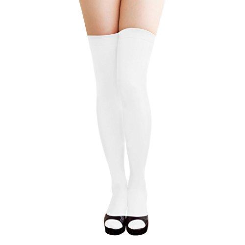 Oblique Unique® Sexy Strumpfhose -halterlos- Overknee Strümpfe - Party Kostüm Fasching Karneval (Overknee Weiss)