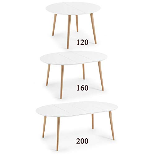 HABITMOBEL Mesa Comedor Extensible de 120 a 160 a 200 x 120 cm (3 Medidas en 1)