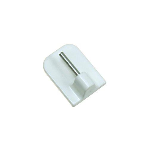 Flairdeco Klebehaken mit Metallstift für Vitragestangen, Plastik, Weiß, 4 Stück (Handtuch Haken Für Gardinenstange)
