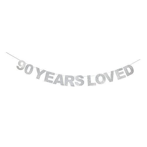waway 90Jahren Loved Geburtstag Banner Silber Glitzer Herz für 90. Jahrestag 90Jahre Alt Geburtstag Party Dekoration Supplies