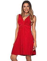 2d3efeb7e591 KRISP® Women Knot Front Dress Ruched Flattering Stretch Spring Dresses