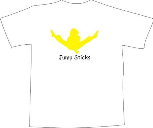 T-Shirt E121 Schönes T-Shirt mit farbigem Brustaufdruck - Logo / Comic - Kampfsport Asien Sihlouette mit Schriftzug JUMP STICKS Mehrfarbig