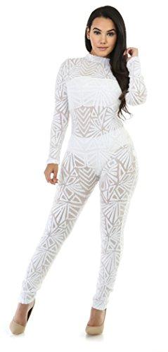 Femmes Sexy manches longues Paillettes Stitching Haute Elasticité Clubwear Bodycon Jumpsuit Blanc