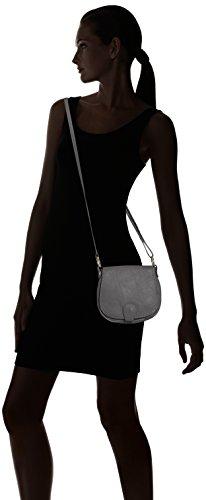 CTM Pochette a spalla da donna, borsetta in vera pelle made in Italy - 19x17x6 Cm Grigio
