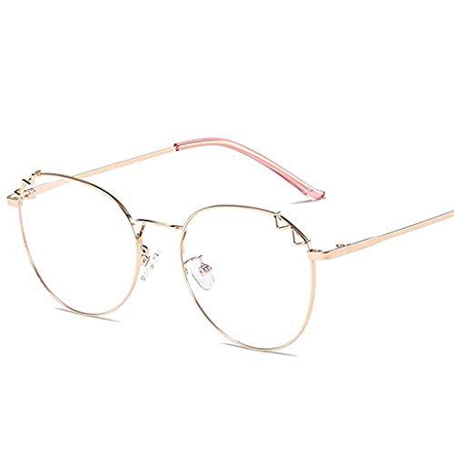 ZRWL Anti-Blu-ray Brille Weibliche Retro Persönlichkeit Runde Metall Vollformat Myopie Rahmen Farbwechsel + Strahlenschutzbrille