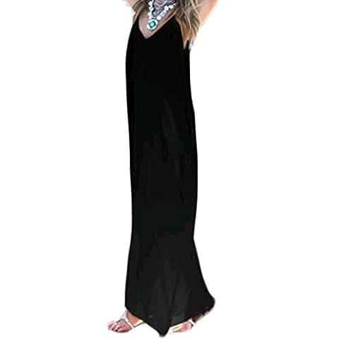 Frauen Mode V-Ausschnitt ärmellos Sling Loose Beiläufige Tasche Lang Kleider Trägerkleid Beachwear Strandkleider Freizeitkleid (XL, Schwarz)