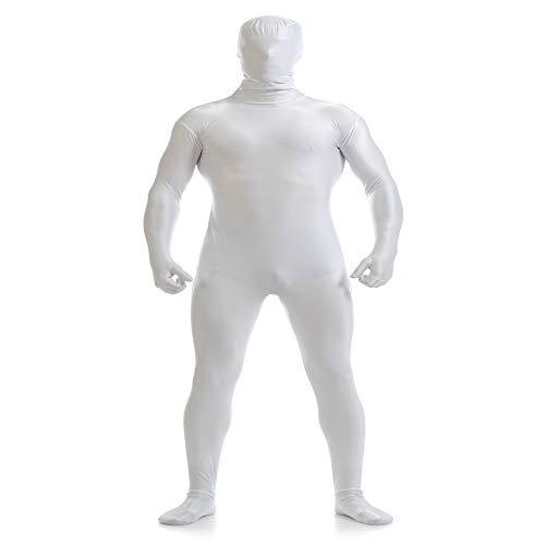 Black Ninja Männer Kostüm - ZYFDFZ All Inclusive Strumpfhose Elastic Stage Black Man Kostüme Halloween Kostüm Ninja Unsichtbarkeitsumhang Cosplay Requisiten (Farbe : Weiß, größe : XXXL)