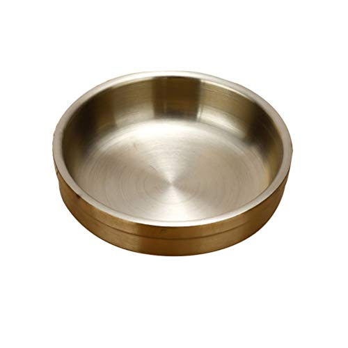 Besonzon 304-Edelstahl Saucenteller, Dipschüssel, runde Gewürzteller, Untertasse, Vorspeisenteller, goldfarben, 12 cm Gold Pickle Dish