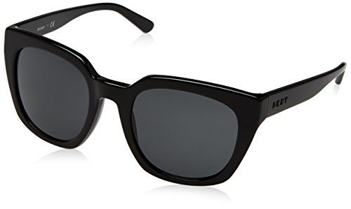 DKNY Women's Acetate Woman Sunglass Square, Black, 52 mm