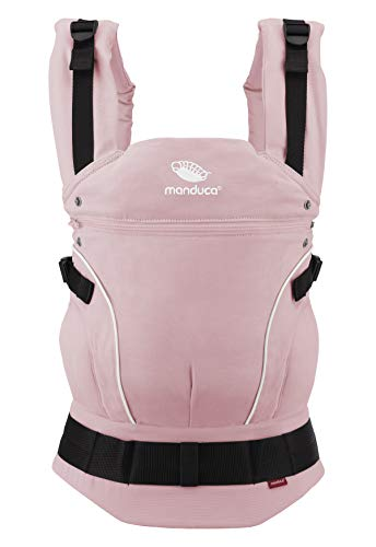 manduca First Baby Carrier > PureCotton < Mochila Portabebe Ergonomica, Algodón Orgánico, Extensión de Espalda Patentada, para Recién Nacidos y Bebés de 3,5 a 20 kg (PureCotton, Rose (rosa))