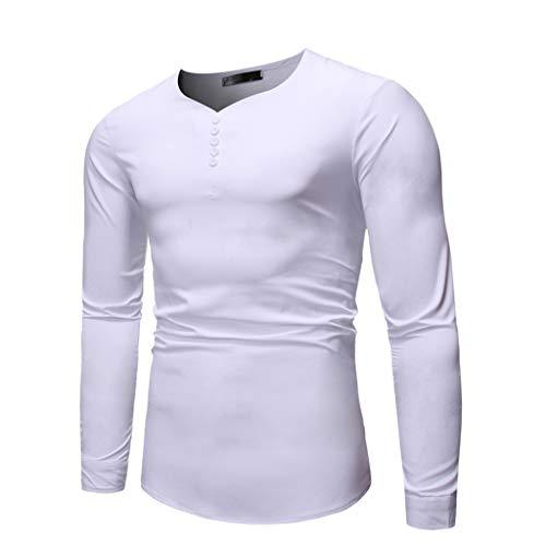 DNOQN T Shirt Lang Slim Fit Pullover Herren Herren Einfache Pure Lange Ärmel Top Mode und Komfortable Bluse L