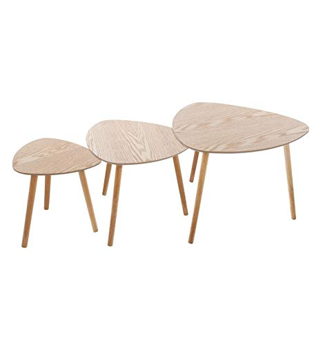 Atmosphera - Lot de 3 Tables à café Bois Mileo - Beige