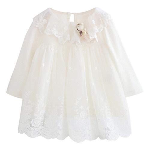 Kobay Neugeborenen Baby Mädchen Spitze Tüll Cute Cartoon Kleiner Bär Prinzessin Kleid(3-6M,Weiß)