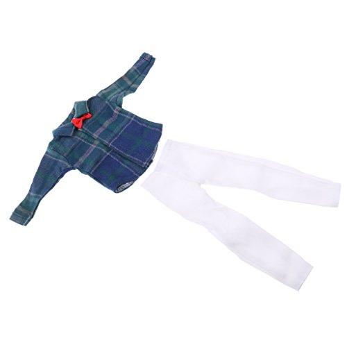MagiDeal Puppen Freizeitkleidung Anzug Set für 1/6 Barbie Ken Puppe - Langärmelig T-Shirt + Jeans Hosen - E