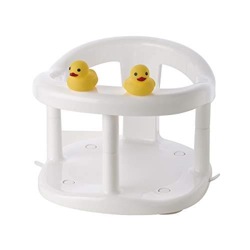 SARO - Badesitz Baby mit Entenhauben - Baby Badewanneneinsatz - Badesitz mit Saugnäpfen und rutschfester Oberfläche - Weiß