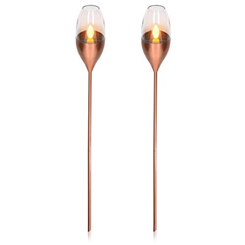 Navaris 2x LED Solar Edelstahl Gartenfackel - 8,5 x 112cm - Garten Fackel Solarleuchten Set - Außen Kerzenschein-Effekt Solarfackel Metallic Kupfer