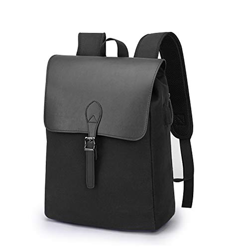 Wind Took Retro Damen Rucksack Canvas Daypack Laptop Notebook Backpack 15 Zoll mit USB Kabel für Uni Casual Alltag Freizeit , 27x14x38 cm, Schwarz