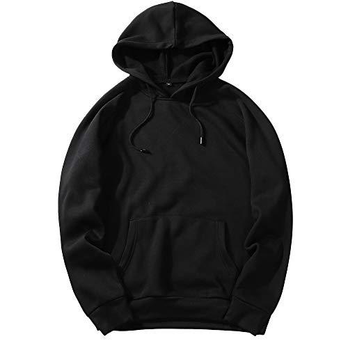UJUNAOR Herren Langarm Hoodie T-Shirt Kapuzenshirt Mit Kapuze Männer Pullover in Vielen Farben(Schwarz,S)