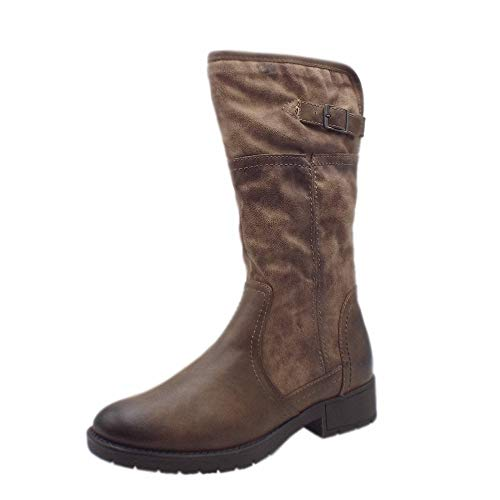 28e9795759e4 Jana Soft Line 25463 Peking Stylish Wide Fit Fleece Lined Boot in Taupe 42  Taupe
