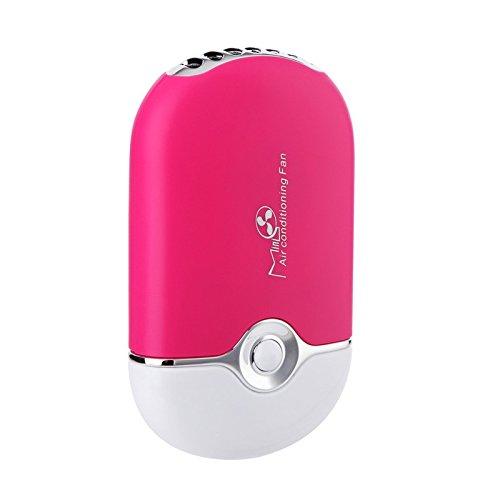 TechCode Handheld Fan, Tragbare Mini-Handheld-Klimaanlage Lüfter USB Wiederaufladbare Klimaanlage Fan für Home-Office-Auto (Rosa) (Wiederaufladbare Fan)