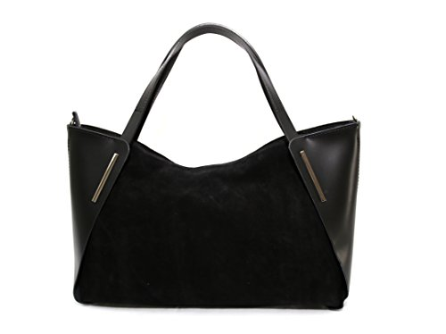 donne borsa in pelle natural Parma, made in Italy creeo Blu Nero