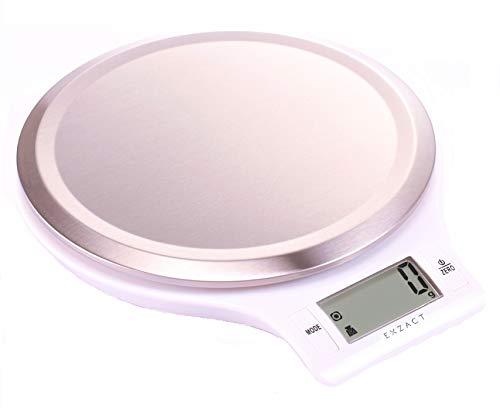 Exzact EX3211 Elektronische Küchenwaage – Plattform mit fingerabdruckabweisender Oberfläche aus rostfreiem Stahl - 5kg/11lb (EX3211 Weiß)
