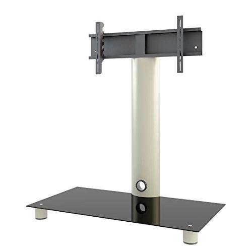 VCM 14220 Standol Meuble TV Roulettes Incluses Aluminium/Verre Argent/Noir