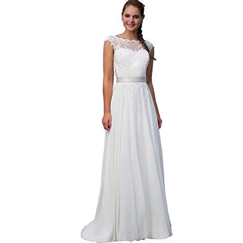 Carnivalprom Damen Chiffon Hochzeitskleider Brautkleider Lang Elegant Applikation...