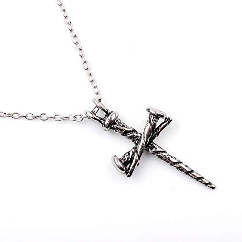c3367a1d00dd3 DYKJ Tattoo Hiphop Rock Zinc Alloy Casting Nail Cross Pendant Personalized  Necklaces For Men Fashion Old Silver Knuckles Jewelry