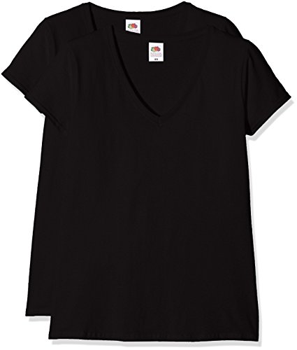 Fruit of the loom ladies valueweight v-neck, top donna, nero (black), m