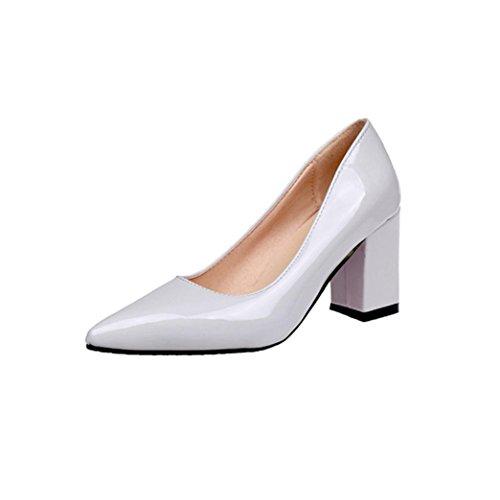 squarex Damen-Fashion Square Ferse Schuhe Spitz Zulaufender Zehenbereich Flache hochhackige Schuhe 4.5 UK/Foot Length:221-225mm weiß (Ferse Weiß 4 1/2)