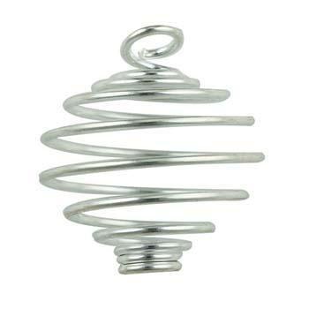 25,5 mm, colore: argento a spirale con cristalli e gemme per gabbie X (Argento Gabbia)