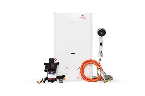 Eccotemp CE-L10 11.5 LPM Portable Outdoor Tankless Water Heater w/EccoFlo Diaphragm 12V Pump, Strainer & Shower Set, 50 mbar
