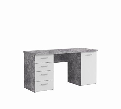 NEWFACE  Schreibtisch mit 4 Schubkästen und 1 Tür, Holz, beton + Weiß, 145 x 60 x 76.3 cm - Weiß Schrank Schreibtisch