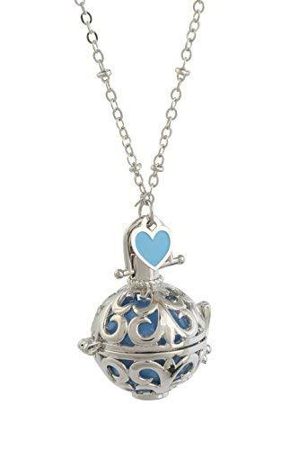 Engelsrufer Klangkugel rhodiniert perforiert mit Xylophon Innenraum bunt hellblau argentoè Halskette cm.100mit Herz hellblau