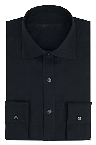 Sean John Herren Regular Fit Solid Spread Collar Dress Shirt - Schwarz - 39 cm Hals 81 cm- 84 cm Ärmel -