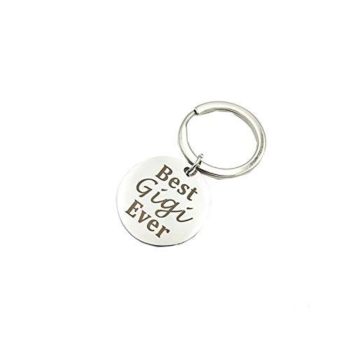AmDxD Edelstahl Schlüsselanhänger Für Damen Herren Buchstaben Best Gigi Ever Dog Tag Anhänger Rund Tag Silber Schlüsselbund Handtaschenanhänger