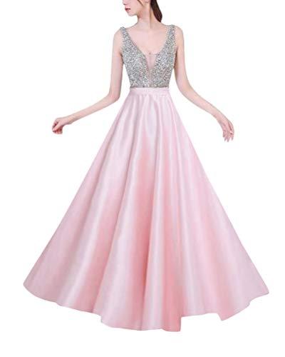 Minetom Abiballkleider Ballkleid Abendkleid Lang Neckholder Chiffon Strass Abschlusskleid Rosa DE 36