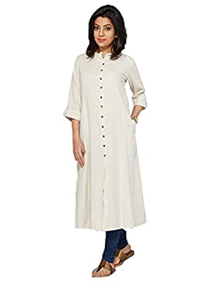 Kurti (Clothfab Women's Pure Cotton 3/4 Sleeve Long Kurti Size : XL White Color) - White There might be slight color variation due to lightings & flash while photo shoot