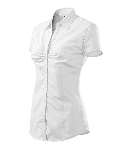 Bluse für Damen Damenhemd chic kurzarm - Größe und Farbe wählbar - (S, weiss)