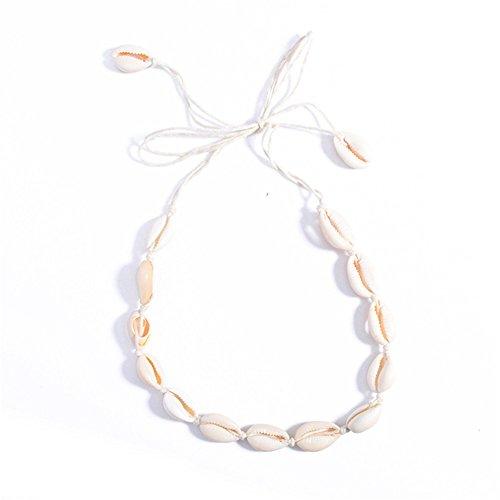 juanya Damen Bohemia Samt Shell Form Anhänger Kette Choker Seil Halskette Quaste
