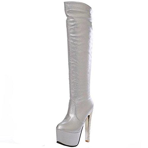 AIYOUMEI Damen Stiletto Kniehohe Stiefel mit Plateau und 15cm Absatz High Heels Elegant Winter Langschaftstiefel Schuhe (Kniehohe Schaft-stiefel)
