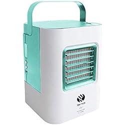 samLIKE Climatiseur Portable Refroidisseur d'air Portable Chargement USB Rafraichisseur d'air Et Ventilateur, Climatiseur Humidificateur Purificateur 3 en 1Pour Travail, Bureau, Famille (Vert)