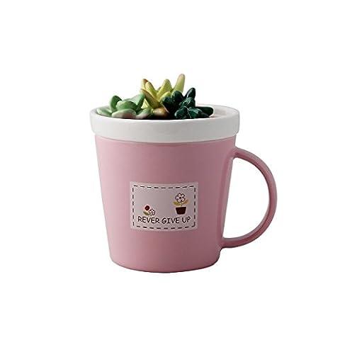 UPSTYLE Süßes Sukkulenten Muster Mini Keramik Tasse Keramik Reise Becher Tee Tasse mit Deckel und Griff Wasser Cup für Kaffee, Milch, Tee, Saft Größe 275ml, keramik, rose, 275ml