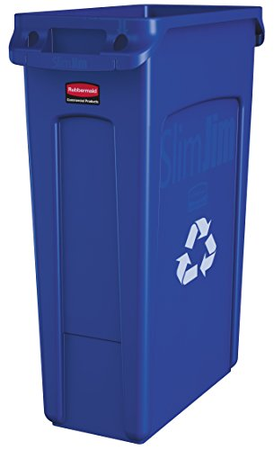 Rubbermaid Commercial Vented Slim Jim Recycling Bin Waste Receptacle, 87 Litres, Blue, Plastic, FG354007BLUE