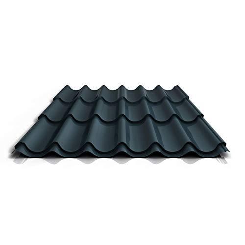 Pfannenblech | Ziegelblech | Dachziegelblech | Profil PS47/1060RT | Material Stahl | Stärke 0,50 mm | Beschichtung 25 µm | Farbe Anthrazitgrau