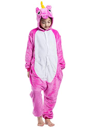 Jumpsuit Onesie Tier Karton Fasching Karneval Halloween Kostüm Kinder Mädchen Junge Kigurumi Sleepsuit Overall Pyjama Unisex Lounge Cosplay Schlafanzug, Rose Rot Einhorn