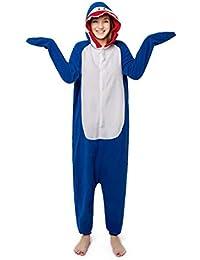 SHANGXIAN Kigurumi Adulto Pijama Cosplay Disfraz Tiburón Azul Onesies Casa Fiesta Ropa De Dormir para El Hombre…