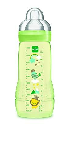 MAM Easy Active Baby Bottle 330 ml, Biberón Grande de Aprendizaje Ergonómico, Fácil de Agarrar, Tetina MAM Nº 3 de Silicona y Tapa Antigoteo, 4+ meses, Verde